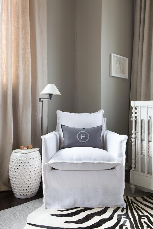 white and gray boyu0027s nursery features a restoration hardware baby u0026 child calais spindle crib dressed in washed organic linen nursery bedding collection
