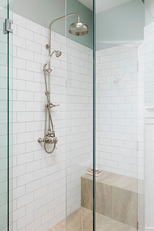 Shower With Exposed Plumbing Rain Shower Head