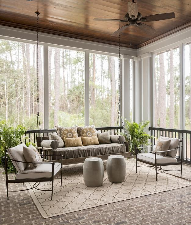 Sunroom With Swinging Sofa Traditional Deck Patio