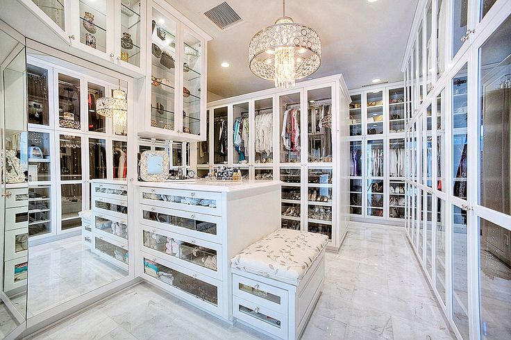 Walk In Closet With Mirrored Island Contemporary Closet