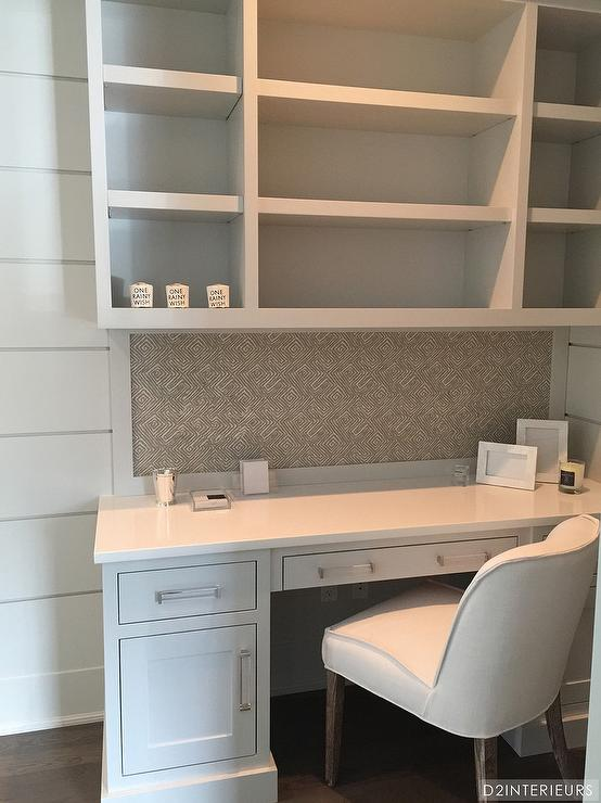 Built In Desk With Glass Pulls Transitional Den