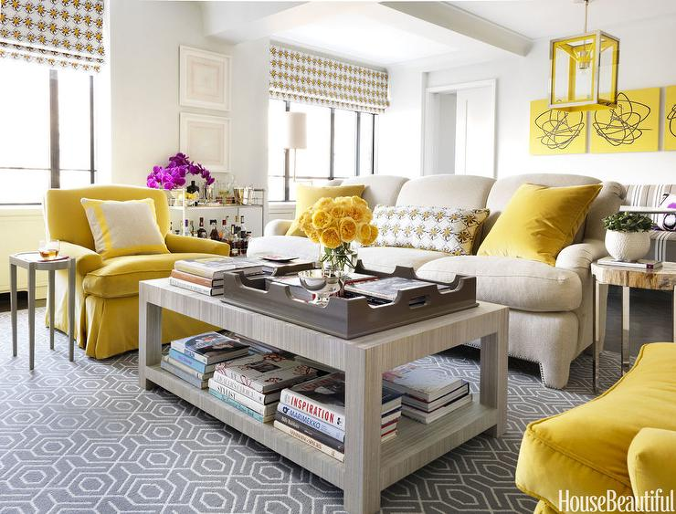 Contemporary Yellow and Gray Living Room - Contemporary - Living ...