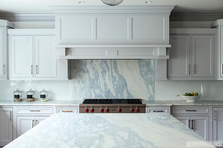 Kitchen With Grey Marble Backsplash