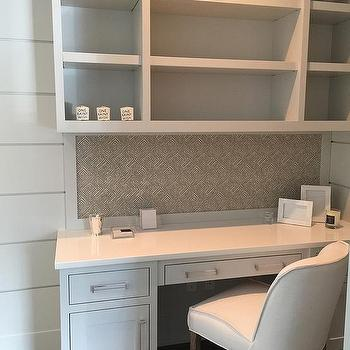 Built In Desk with Glass Pulls, Transitional, Den/library/office