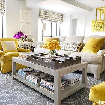 Contemporary Yellow and Gray Living Room, Contemporary, Living Room, Benjamin Moore White Wisp