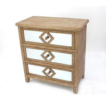 Mirrored Three Drawer Wood Dresser