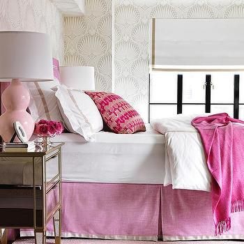 Pink Headboard and Pink Bedskirt and Pink Diamond Rug, Contemporary, Bedroom