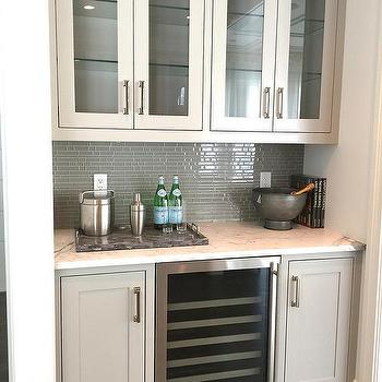 Butler Pantry with Gray Glass Tile Backsplash, Transitional, Kitchen