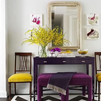 Yellow and Purple Foyer, Contemporary, Entrance/foyer