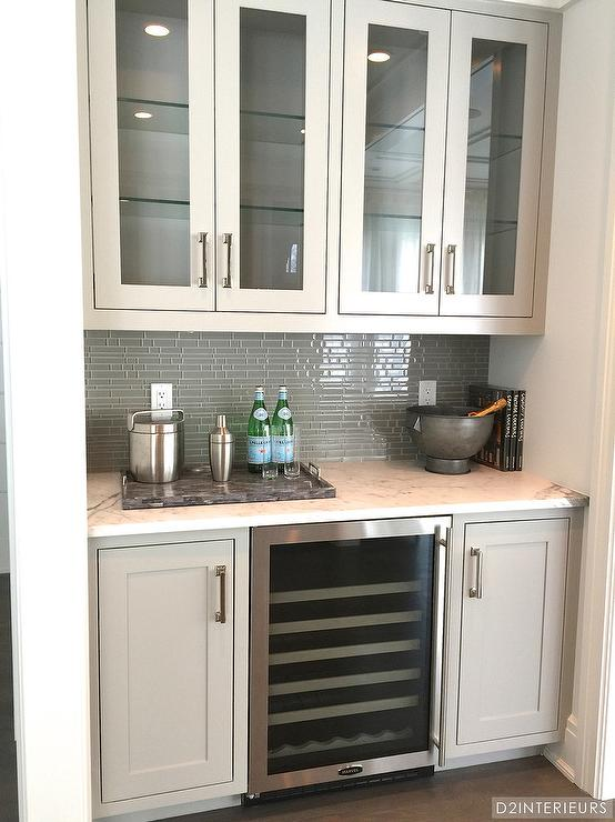 Butler Pantry With Gray Glass Tile Backsplash Transitional Kitchen