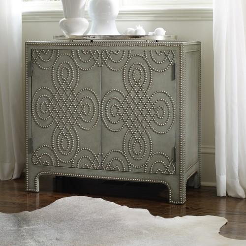 Charming Hooker Furniture Two Door Beige Nailhead Chest