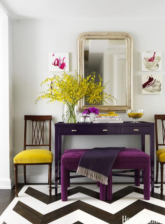 Purple Foyer Paint : Yellow and purple foyer contemporary entrance