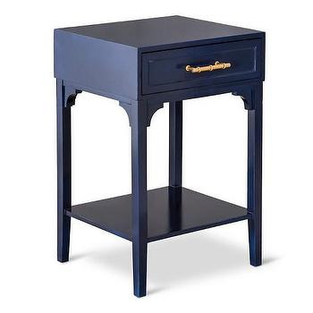 Awesome Threshold Navy Blue Accent Table With Bamboo Motif Handle
