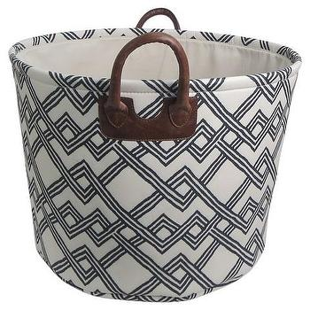 Threshold Printed Canvas Basket with Piped Handles