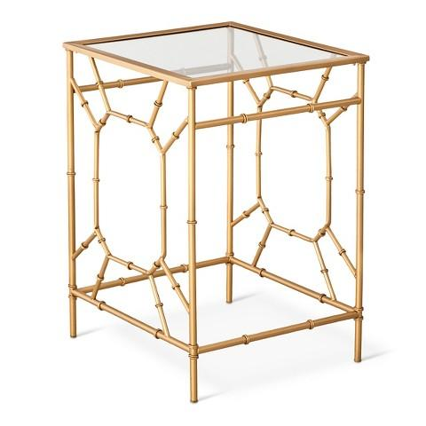 Charming Threshold Bamboo Motif Gold Accent Table