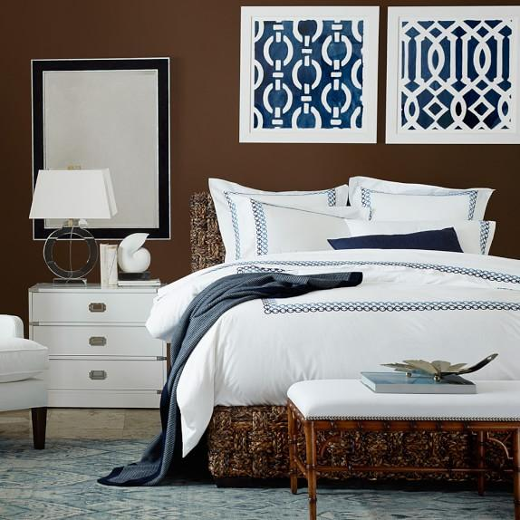 Williams Sonoma Home Elephant Scroll Embroidered Bedding