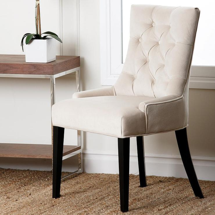 Abbyson Living Napa Cream Fabric Tufted Dining Chair