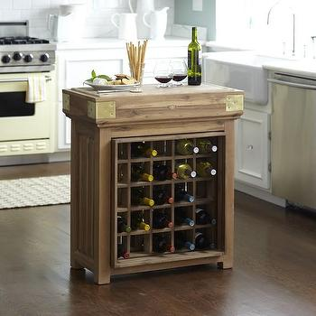 French Chef's Kitchen Island with Wine Storage