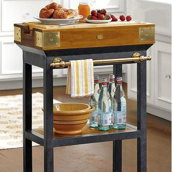French Chef's Kitchen Island with Shelf