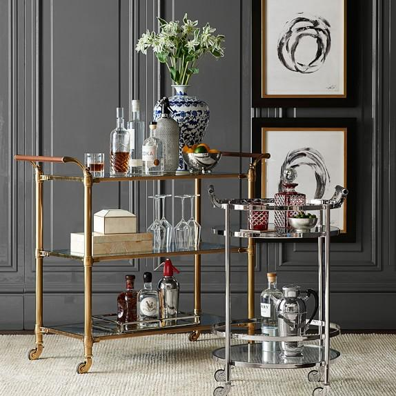 Beckett Brass Bar Cart