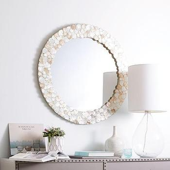 Laminated Round Capiz Wall Mirror