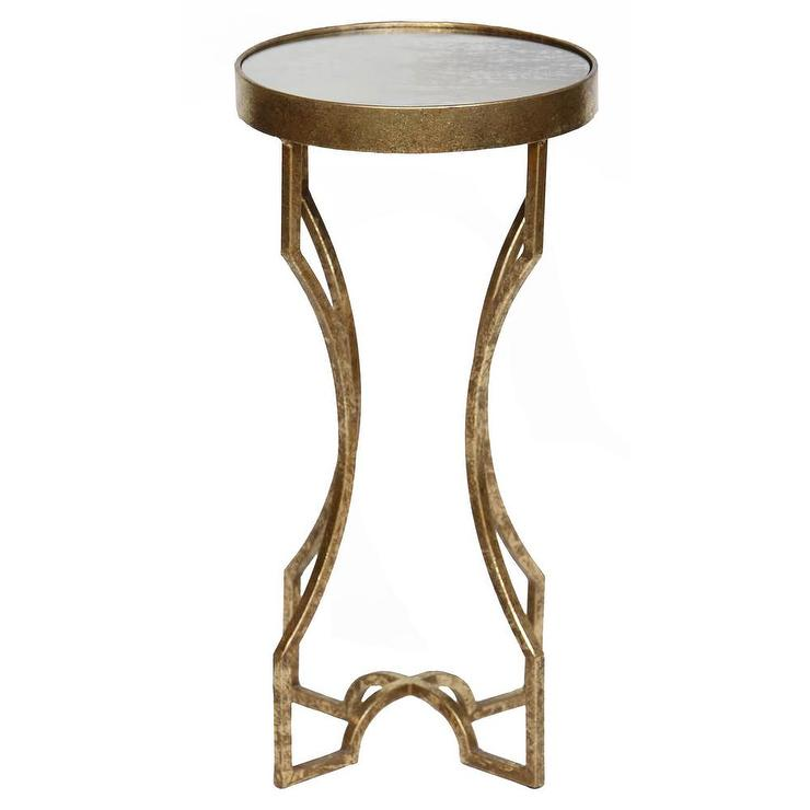 Four Leg Gold Leaf Antiqued Mirror Top Accent Table
