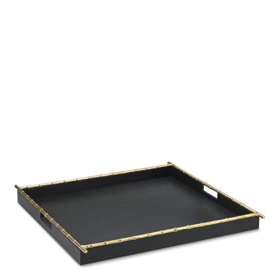 Rectangular Black Gold Bamboo Tray