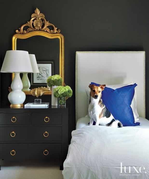 Gold Baroque Mirror Over Black Nightstand Transitional