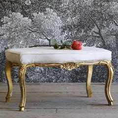 Eloquence One of a Kind Vintage Bench Louis XV Shimmer Gilt