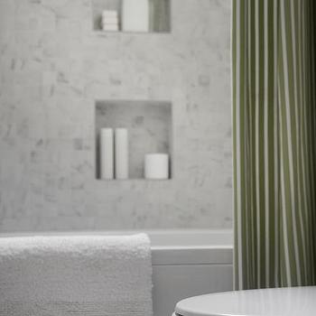 Shower With Green Stripe Curtain