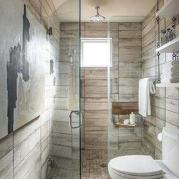 Above the toilet shelves suspended from ceiling cottage for Rustic tile bathroom ideas