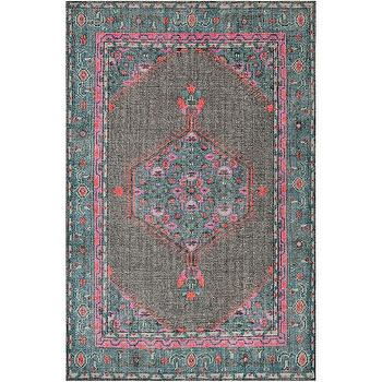 Surya Zahra Vintage Inspired Teal and Gray Hand Knotted Wool Rug