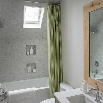Dormer Shower and Tub Combo, Cottage, Bathroom, Sherwin Williams Snowbound