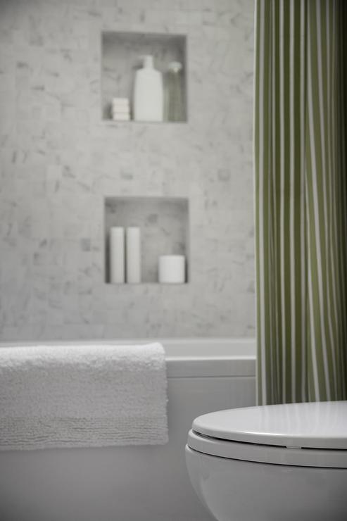 Shower With Green Stripe Curtain View Full Size