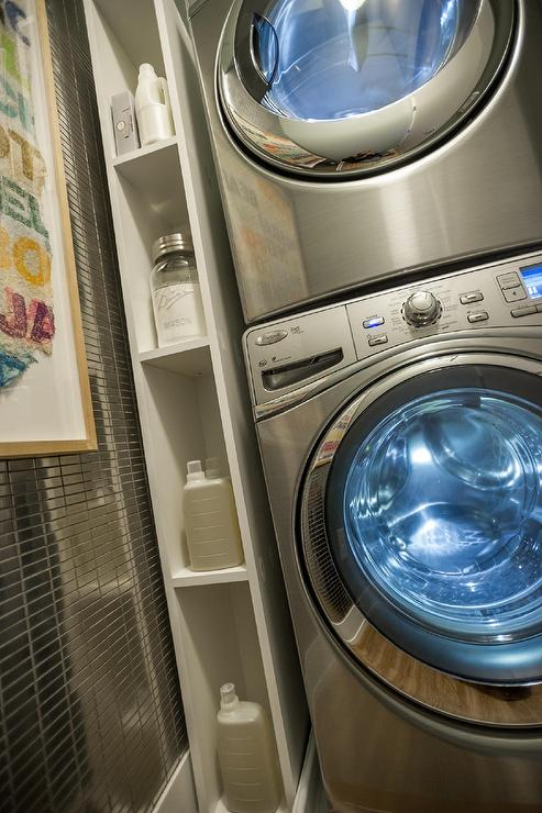 Laundry Room With Vertical Shelving Unit Contemporary