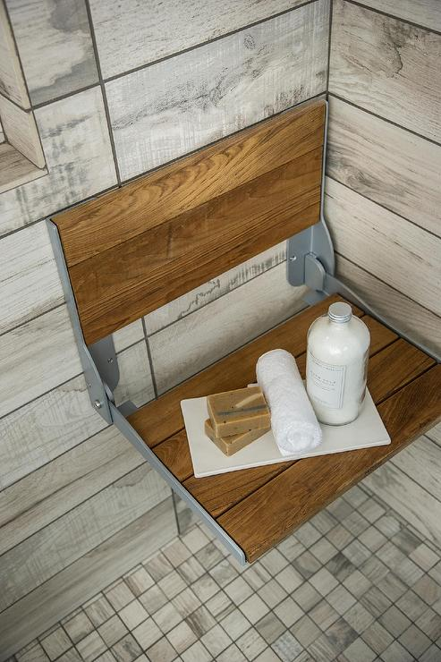 Teak Folding Shower Bench Ledge