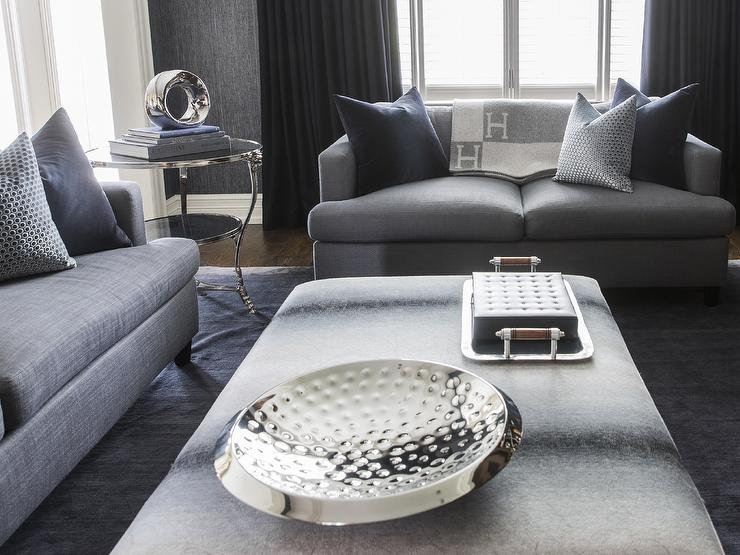 View Full Size Chic And Sophisticated Navy Grey Living Room Jennifer Backstein Interiors Blue Sofa In Contemporary
