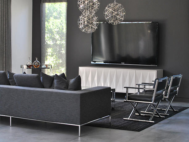 X panel media cabinet with flatscreen tv transitional Modern gray living room