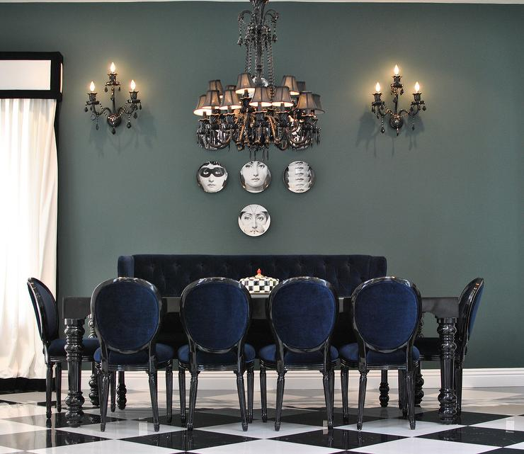 Black DiningTable With Blue Velvet Dining Chairs
