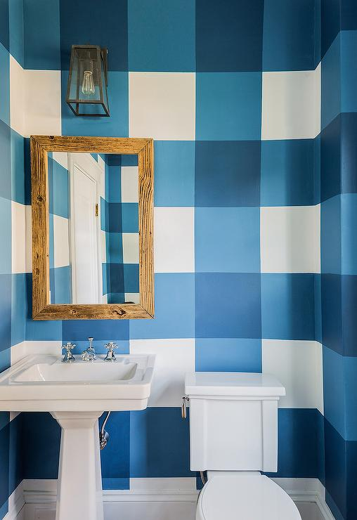 Powder Room With Painted Blue Gingham Walls Cottage