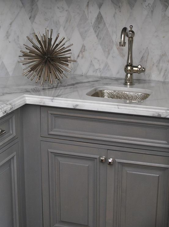 White Kitchen Island With Gray Quartz Countertop And