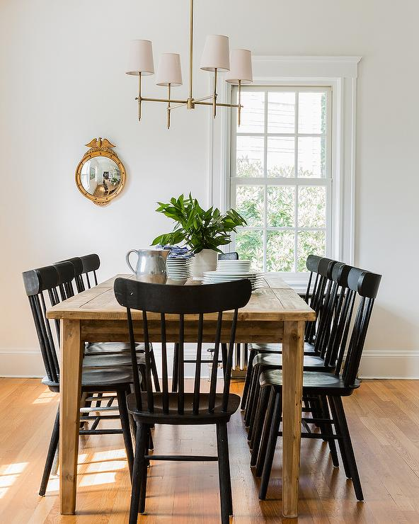 Farmhouse dining table with black salt chairs cottage dining room - Cottage dining room table ...