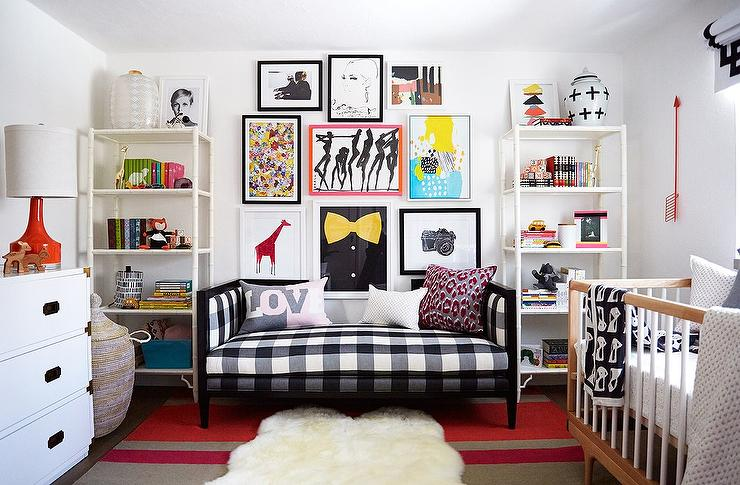 Daybed canopy eclectic nursery for Celebrity kids bedroom designs