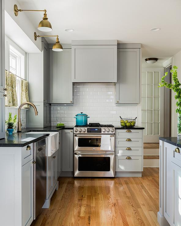 Gray Kitchen Cabinets With Soapstone Countertops And
