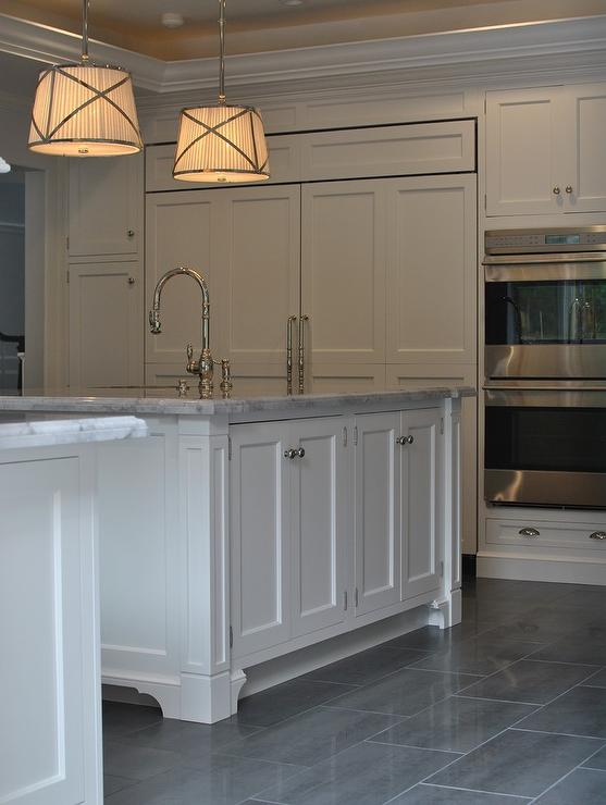 kitchen with gray staggered tile floor transitional