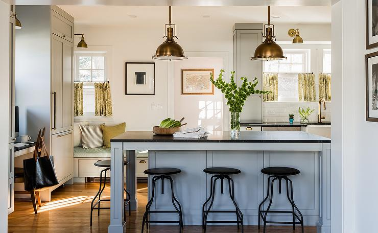 Antique Brass Island Pendants Transitional Kitchen