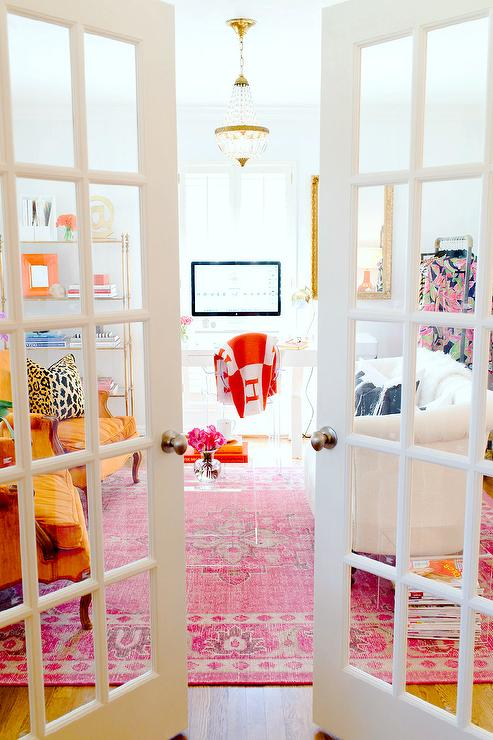 home office french doors. Interesting Home French Glass Doors Open To A Office Filled With White Tufted Loveseat  Facing Pair Of Orange Accent Chairs Across From CB2 Peekaboo Clear Coffee Table  Throughout Home Office Doors I