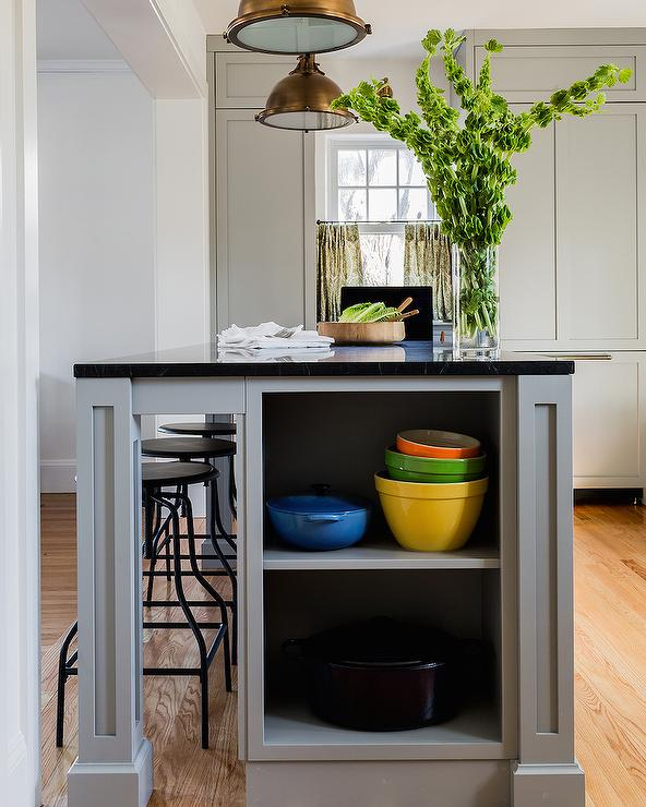 Grey Kitchen Island With End Shelves