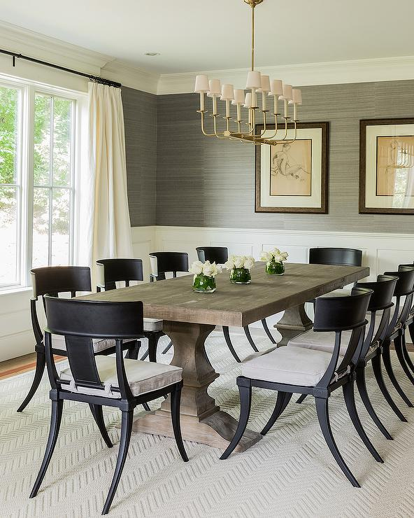 Transitional Dining Room Table: Black Klismos Dining Chairs