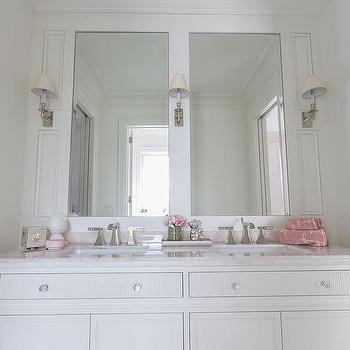 White Kids Bathroom with Pink Accents, Transitional, Bathroom